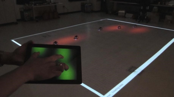 Smart Device Control of Robot Swarms in a Changing Environment